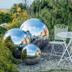 150mm 250mm 350mm 450mm garden decorated stainless steel hollow sphere