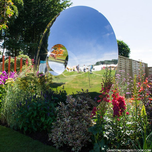 Garden Mirror Polished Stainless Steel Ring Sculpture