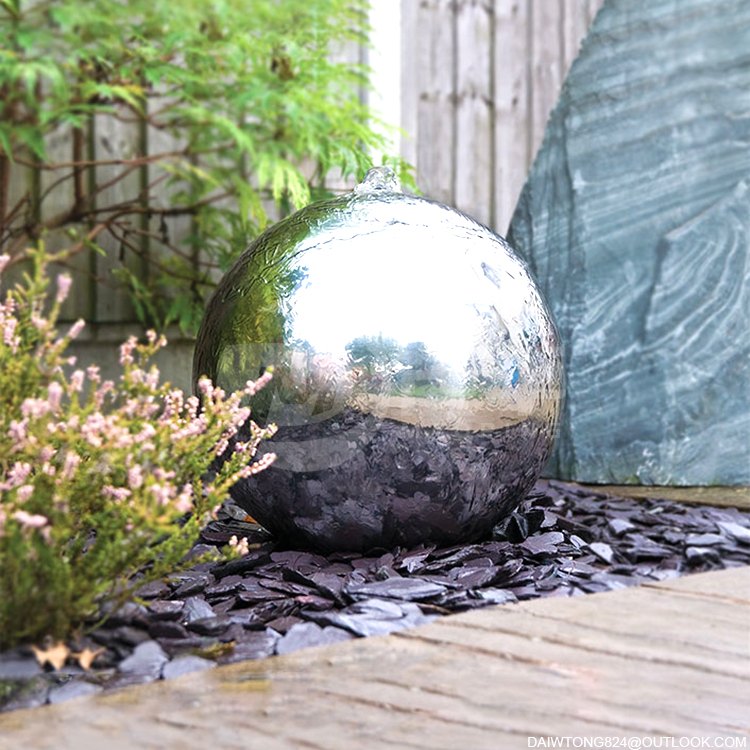Garden Decorated Stainless Steel Sphere water feature