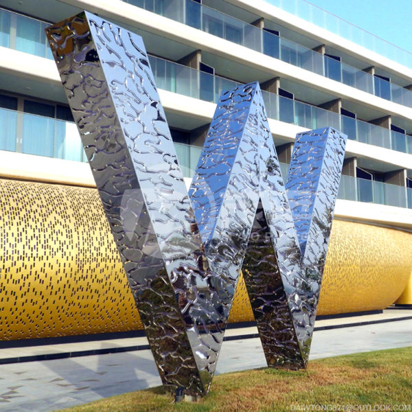 Building Hotel Sign Metal Abstract Modern stainless steel Sculpture