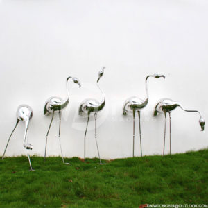 Garden Decorated with Stainless Steel Flamingo Metal Statue