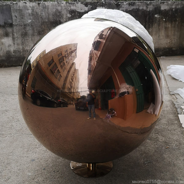 48 inch Metal Polished Water Feature Sphere 1200mm Fountain Ball