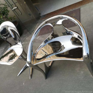 modern metal chair art stainless steel handicraft sculpture