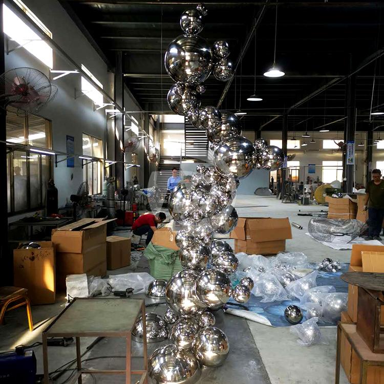 Metal Irregular group Mirror Ball Sculpture