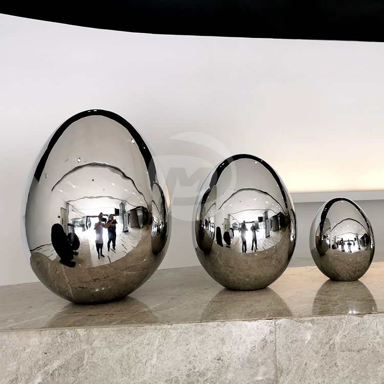 Stainless steel egg shaped sculpture