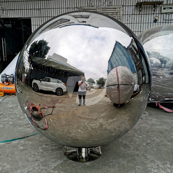 1500mm large metal mirror stainless steel hollow sphere With base