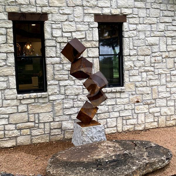 Five cubes Corten Steel Sculpture