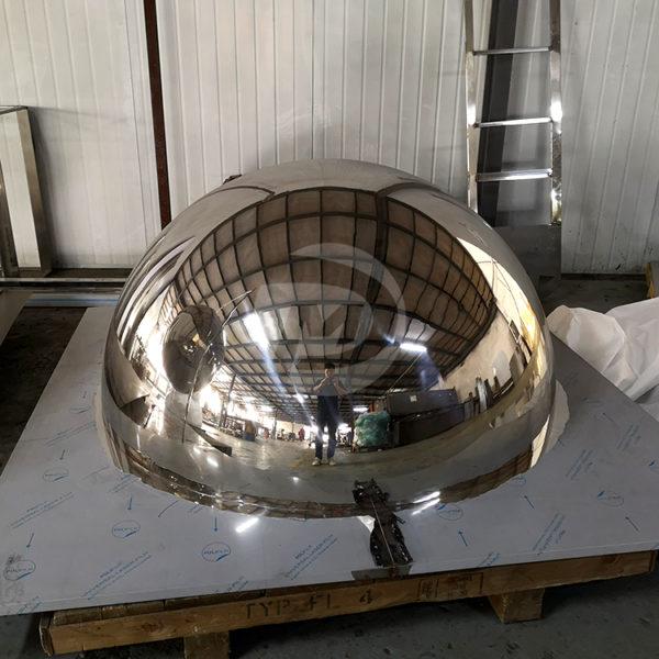 Large metal polished stainless steel hemisphere