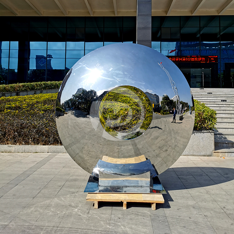 Public art installation Stainless steel ring sculpture