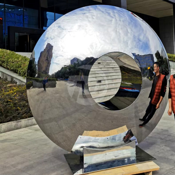 Public art installation Stainless steel ring sculpture