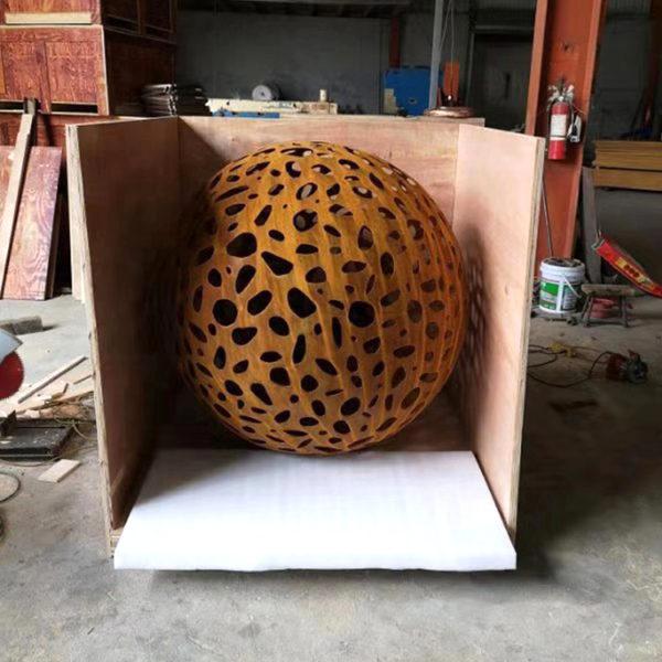 Metal Hollow Corten Steel sphere Sculpture