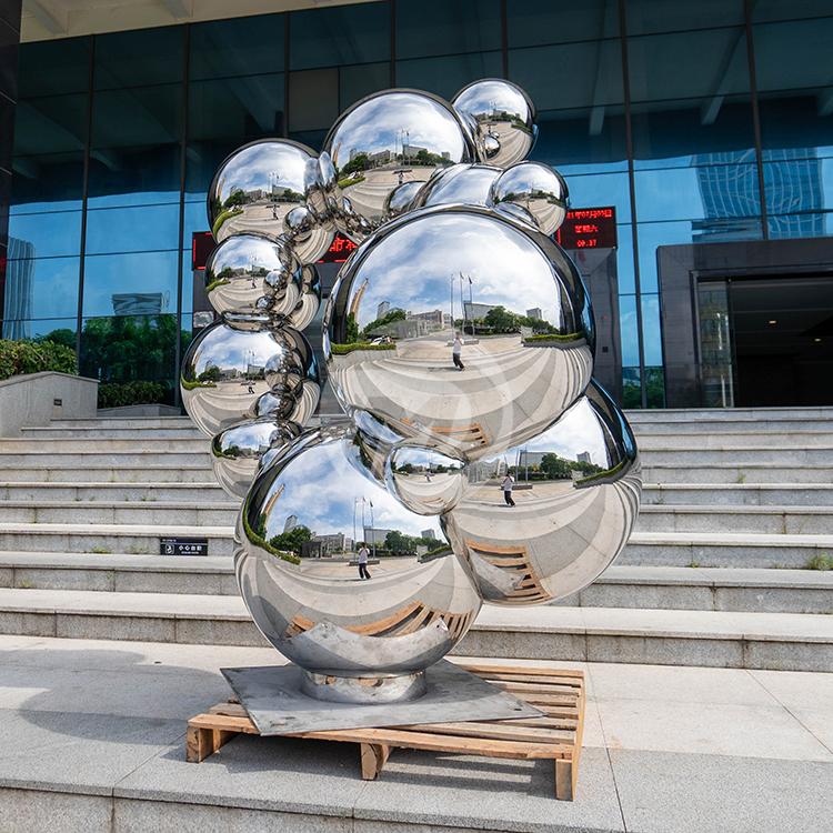Stainless steel polished metal sphere sculpture
