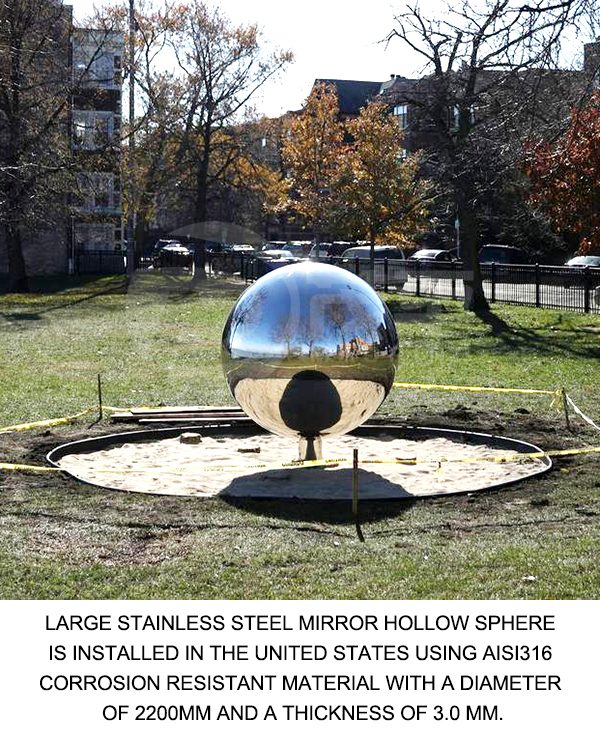 Large stainless steel mirror hollow sphere